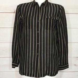 Lauren Ralph Lauren Black Silk Linen Blend Top